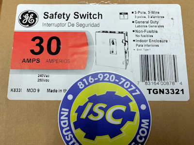 <B>General Electric - </B>TGN3321 Non-Fusible Safety Switch NEW